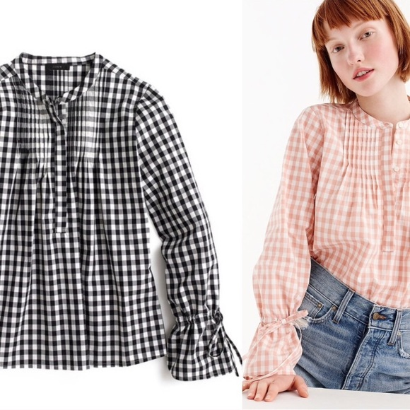 Crew Tie Sleeve Top With Pin Tucks In Gingham Pink White Cotton L J